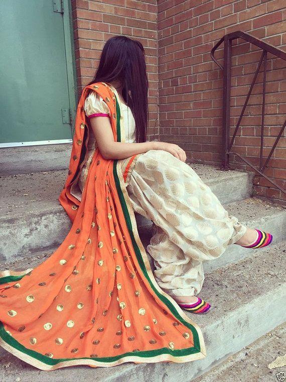 Beige Chanderi #Silk  #Readymade Pakistani #Salwar by Shoppingover