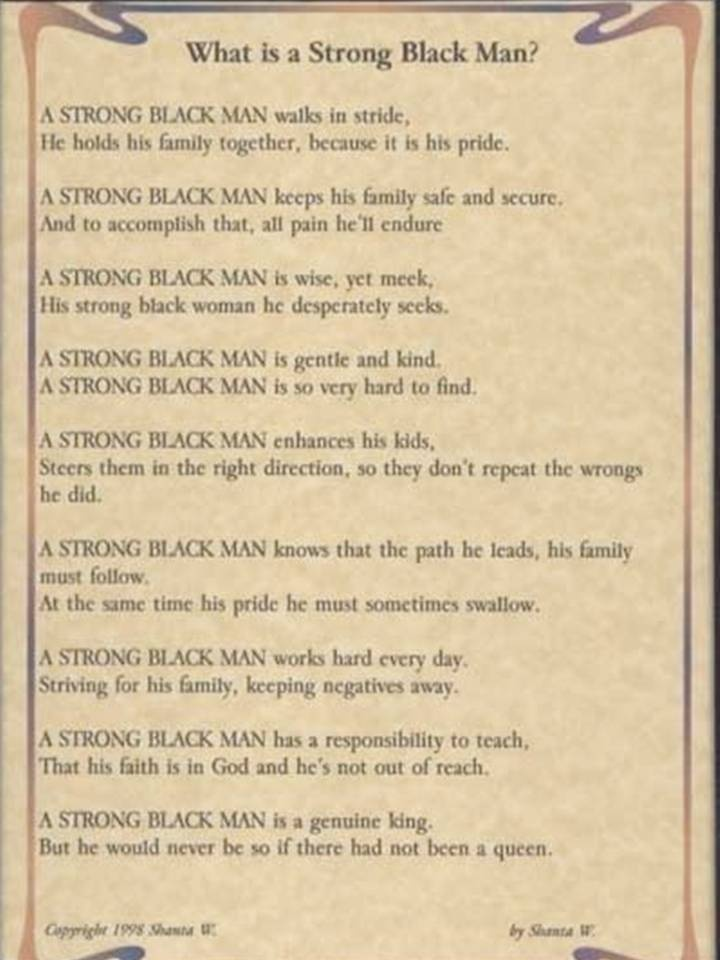 What Is A Strong Black Man By Shanta W 1998 Wordsmiths