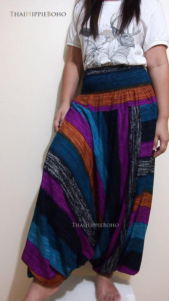 Colors Stripe Way Harem Pants Hippy Hippie / by thaihippieboho, $20.00