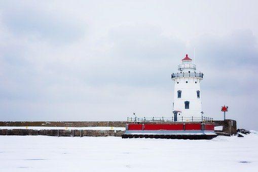 灯台, ミシガン州, ホワイト, 航海, 冬, 雪の, 雪, 歴史