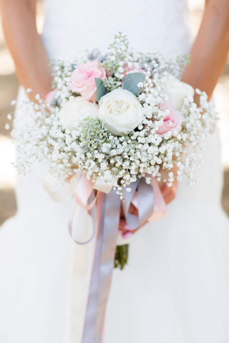 Roses and baby's breath | Photography: Brittrene Photo - brittrenephoto.com  Read More: http://www.stylemepretty.com/california-weddings/2015/03/26/rustic-meets-modern-carmel-valley-ranch-wedding/
