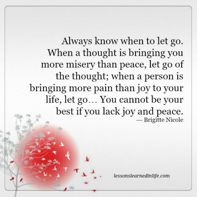 Lessons Learned in Life | Always know when to let go.