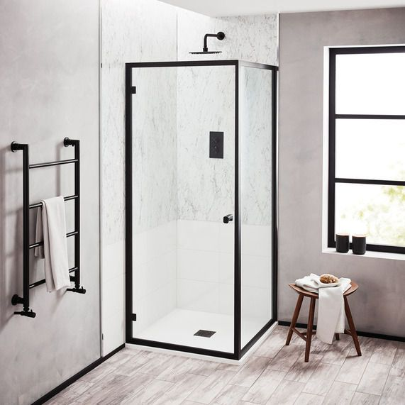 Noir 800mm Matt Black Hinged Shower Door Bathstore Shower Doors Shower Enclosure Black Shower Doors