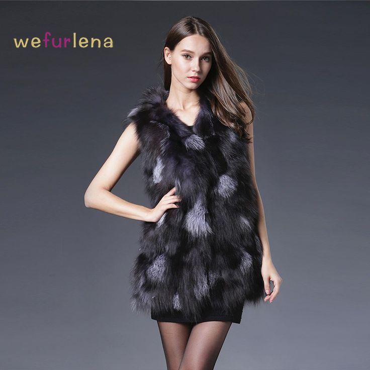 Cheap price US $90.95  2017 Newest Genuine Sliver Fox Fur Vest Sleeveless Fox Fur Waistcoats Jacket Women Natural Fox Fur Gilets Coat Winter  . Get discount for product: Ladies In Leather Coats.