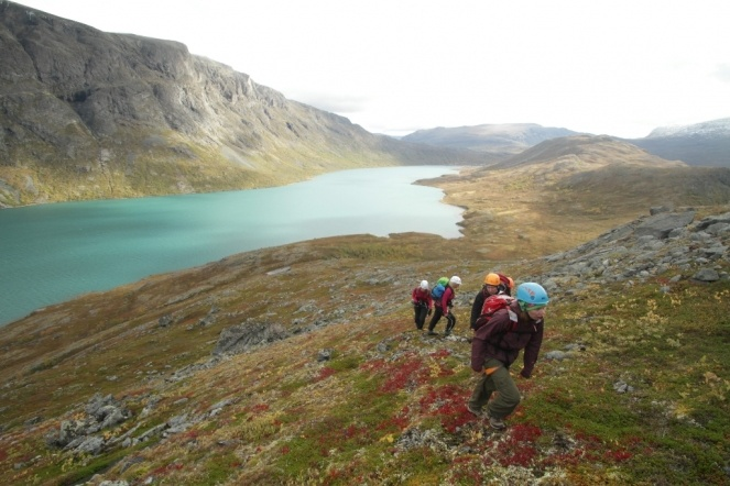 On our way up to Knutshøe in Jotunheimen, Norway. Besseggen and Lake Gjende in the background.