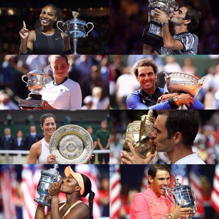 winners of the 2017 majors #rafa #roger #nadal #federer #williams #serena #ostapenko #muguruza #stephens #usa #espana #spanish #swiss #tennis #maestro #atp_star #atp_world_tour #nike #grand_slam #melburne #paris #london #newyork