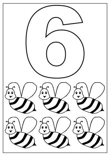 6 Sayısı (Rakamı) Boyama Sayfaları
