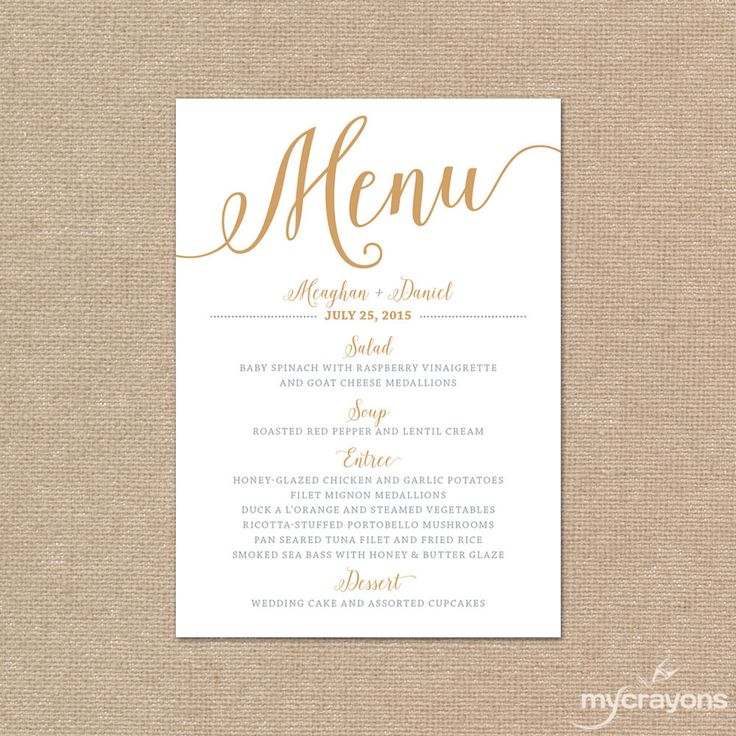 Gold Wedding Menu Card By MyCrayonsPapeterie Printable Silver And
