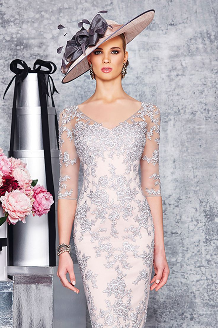 Knee length lace dress with elbow sleeves and sweetheart neck Product Code: 008923 Colour: Silver/Blush