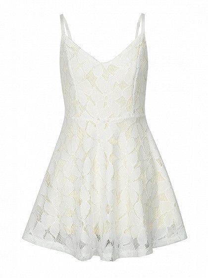 White Spaghetti Strap Cutwork Lace Mini Skater Dress