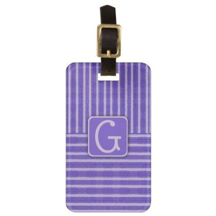 Purple Striped Pattern | Monogram Bag Tag - monogram gifts unique design style monogrammed diy cyo customize