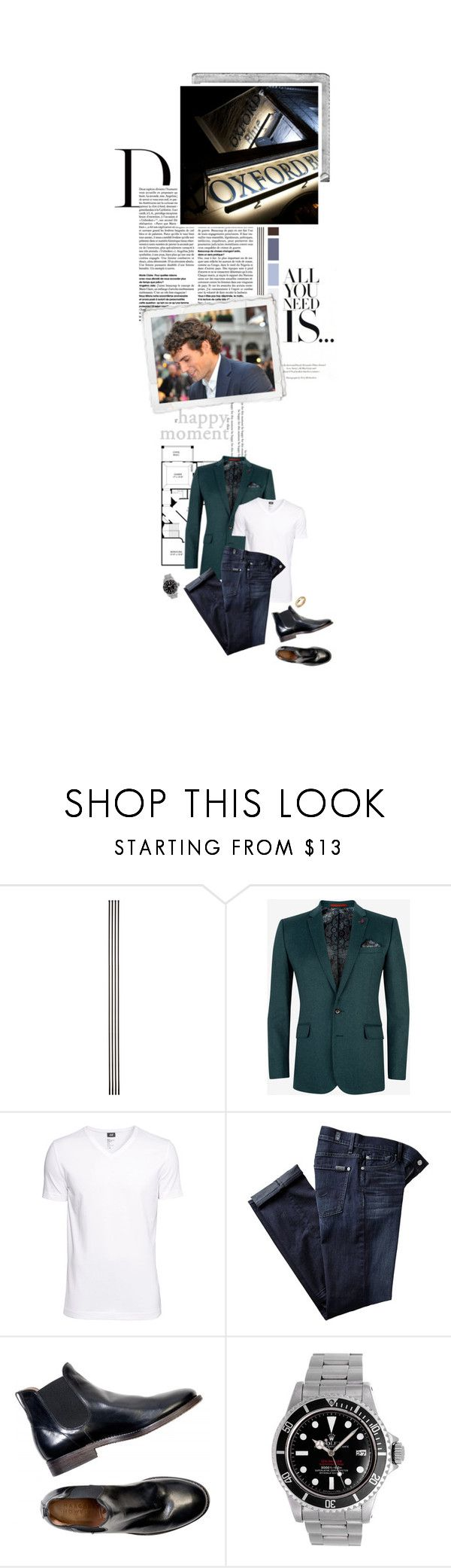 """""""(A) Takes Lydia out to dinner at Old Windsor restaurant The Oxford Blue"""" by immortal-longings ❤ liked on Polyvore featuring Improvements, Polaroid, Ted Baker, H&M, 7 For All Mankind, Rolex, men's fashion and menswear"""