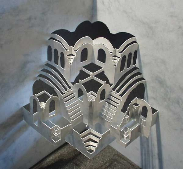 Detailed Paper Architecture by Dutch Artist Ingrid Siliakus   The use of cut materials and the juxtaposition of solid and void as a technique for creating space and structure, in reference to Thom Mayne's Ted Talk.