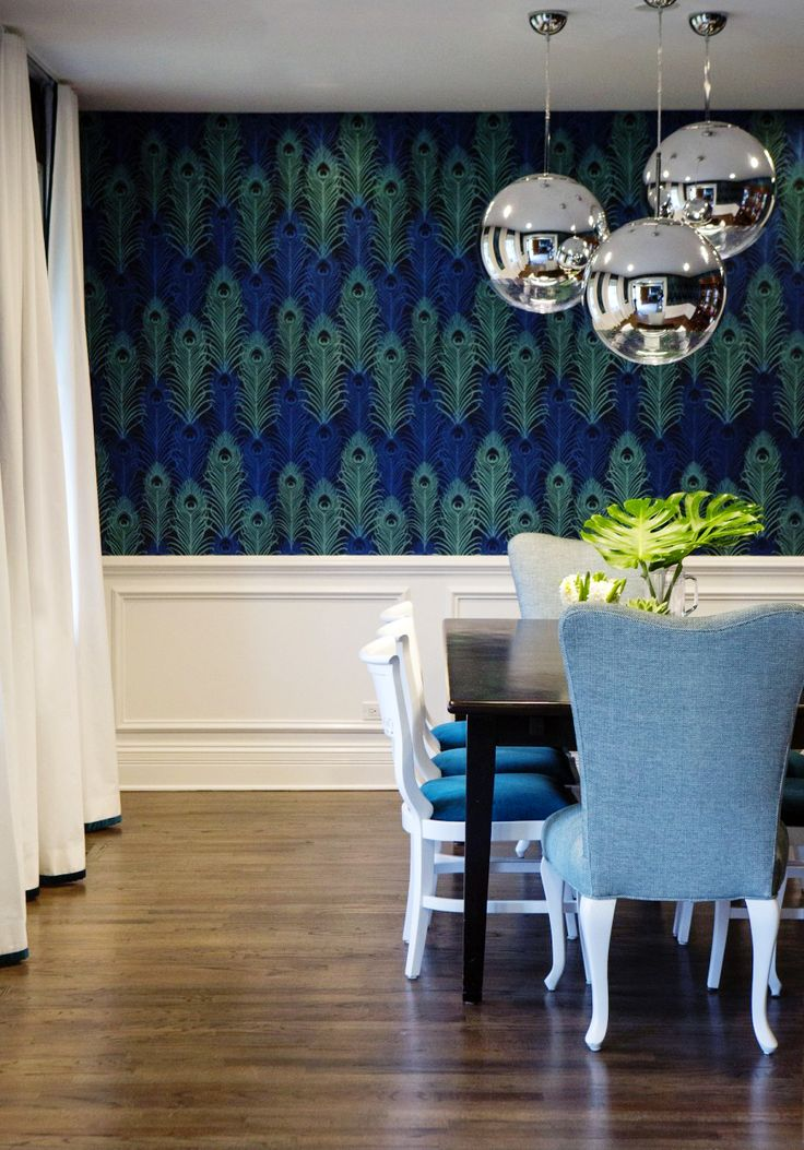 31 best wallpaper images on pinterest wallpapers home for Peacock dining room ideas