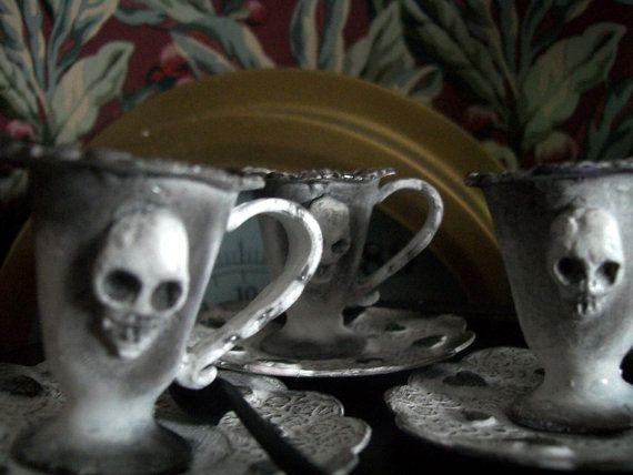 Skull Tea Set. Altered Dolls' Tea Set for Gothic by Rhissanna