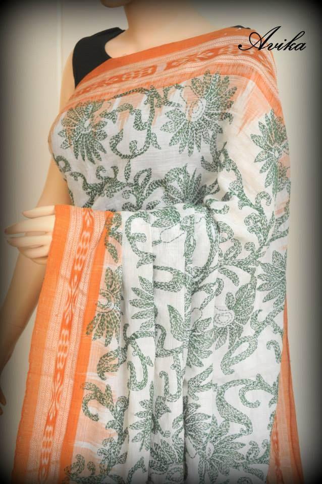 Kantha stitch on Sambhalpuri saree