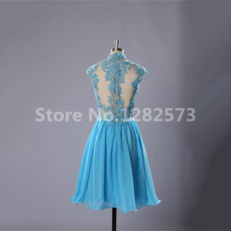 Illusion Back Cocktail Dresses with Lace High Neck Elegant Short Cocktail Dress Light Blue Formal Dresses. Click visit to buy