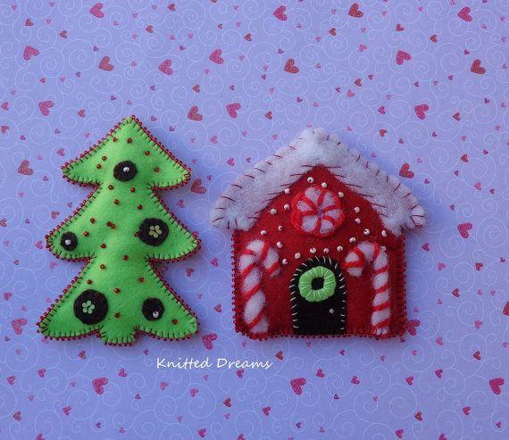 Handmade Felt  Xmas Tree Toys Reindeer Christmas от tatocka