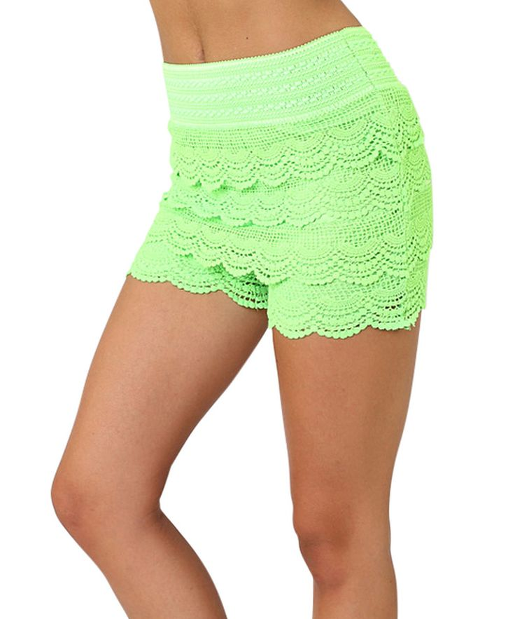 Look what I found on #zulily! Neon Green Lace-Tier Shorts by Elegant Apparel #zulilyfinds