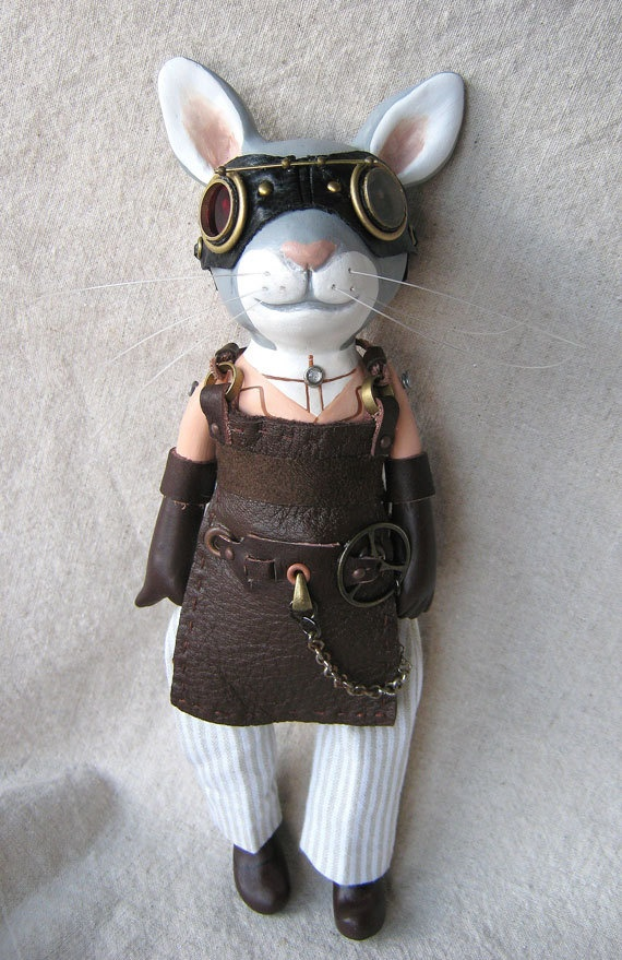 Steampunk Rabbit Scientist Art Doll . For some reason I just love this!!