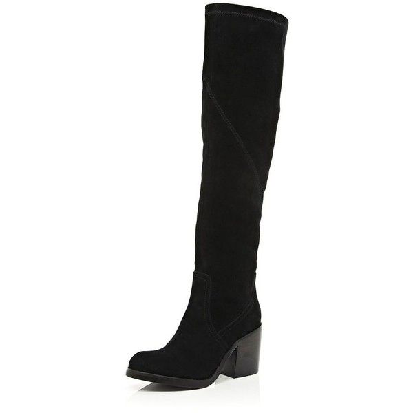 River Island Black suede block heel knee high boots (1,040 EGP) ❤ liked on Polyvore featuring shoes, boots, sale, knee high boots, black knee high heel boots, stretch knee high boots, black suede knee high boots and suede knee-high boots