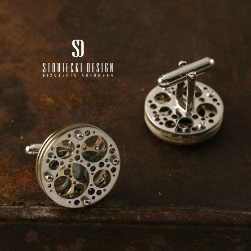 NEURONY  srebrno-mosiężne spinki do mankietów Biżuteria Dla mężczyzn stobieckidesign