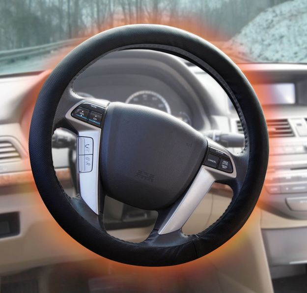 Warm up your chilly hands with a heated steering wheel cover. | 36 Things That Will Make Riding In Your Car So Much Better