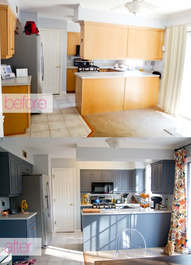 Kitchen with dark gray painted cabinets and gold hardware  before and