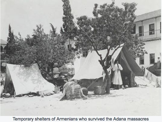 Temporary shelters of Armenians who survived the Adana massacres