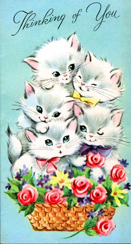"vintage ""Thinking of You"" card kittens & basket of flowers"