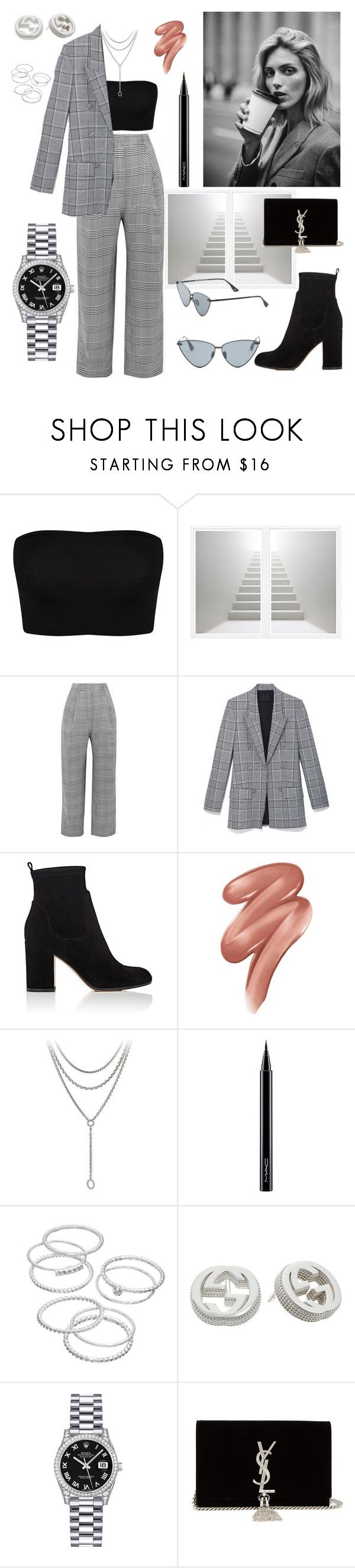 """""""Get Your Sh*t Together"""" by xnicolechin ❤ liked on Polyvore featuring William Stafford, Carmen March, Alexander Wang, Gianvito Rossi, Anja, Clinique, David Yurman, MAC Cosmetics, LC Lauren Conrad and Gucci"""