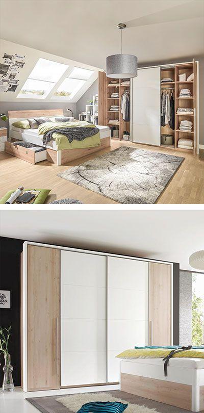 SCHWEBETÜRENSCHRANK in Buchefarben, Weiß Schlafzimmer Pinterest - schlafzimmer mit eckschrank
