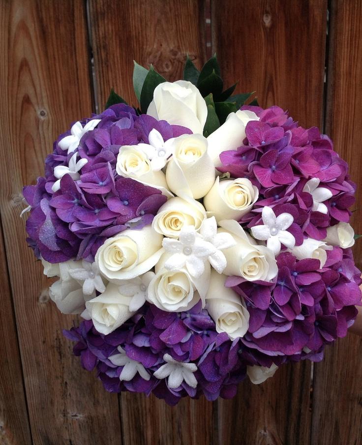 Purple hydrangeas bouquet bernard thibault floral