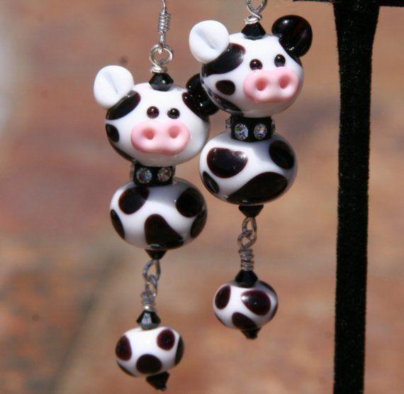 Black N White Dairy Cows SRA Lampwork DeSIGNeR door chuckhljal