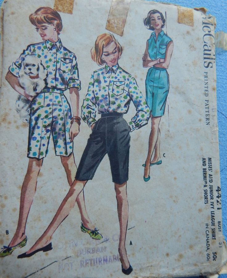 """1950s Vintage Sewing Pattern McCall's 4421 Misses' and Junior Ivy League Shirt and Bermuda Shorts Bust 31"""" (79 cm) by chicpatternstudio on Etsy"""