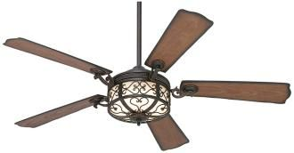 This Hermitage™ indoor or outdoor ceiling fan has a golden forged finish motor with reversible all-weather distressed walnut/walnut finish blades. One of the best outdoor ceiling fans, this Casa Vieja® outdoor fan features a 54″ blade span, 14 degree blade pitch and a lifetime motor warranty. Includes 6″ downrod and [...]