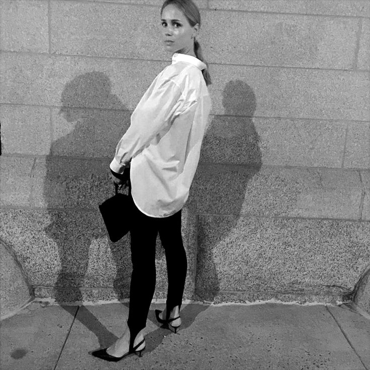 Micro Trend: Stirrup Pants. Elin Kling is wearing a men's shirt and sling-back pumps - teetharejade.com