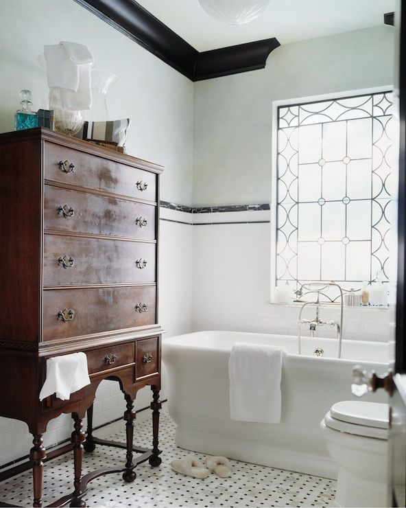 Panageries bathrooms leaded glass window freestanding for Green and black bathroom ideas