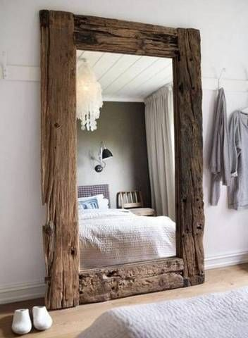 modern rustic interior design wooden floor mirror