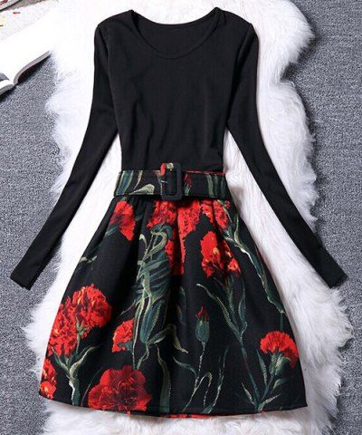 Women's Chic Belted Long Sleeve Scoop Neck Floral Print Dress Long Sleeve Dresses | RoseGal.com Mobile