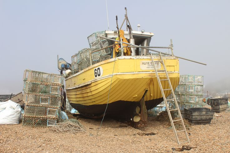 A boat on the beach at Hastings, taken by blind photographer Jonny English