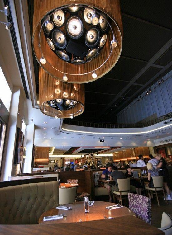 Speaker Cluster Chandelier Lights - in the Hard Rock Cafe, Florence. #hardrock