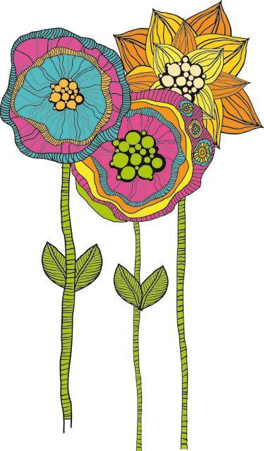 Vinilo decorativo flores hippies