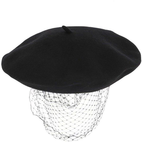 SILVER SPOON ATTIRE Beret With Mesh Veil ($200) ❤ liked on Polyvore featuring accessories, hats, black, mesh hat, black mesh hat, black beret, beret hat and black beret hat