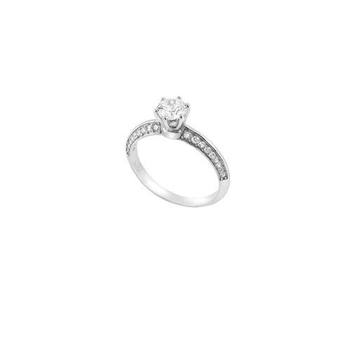Μονόπετρο  δαχτυλίδι Al'oro  Κ18 λευκόχρυσο διαμάντι ZL1176