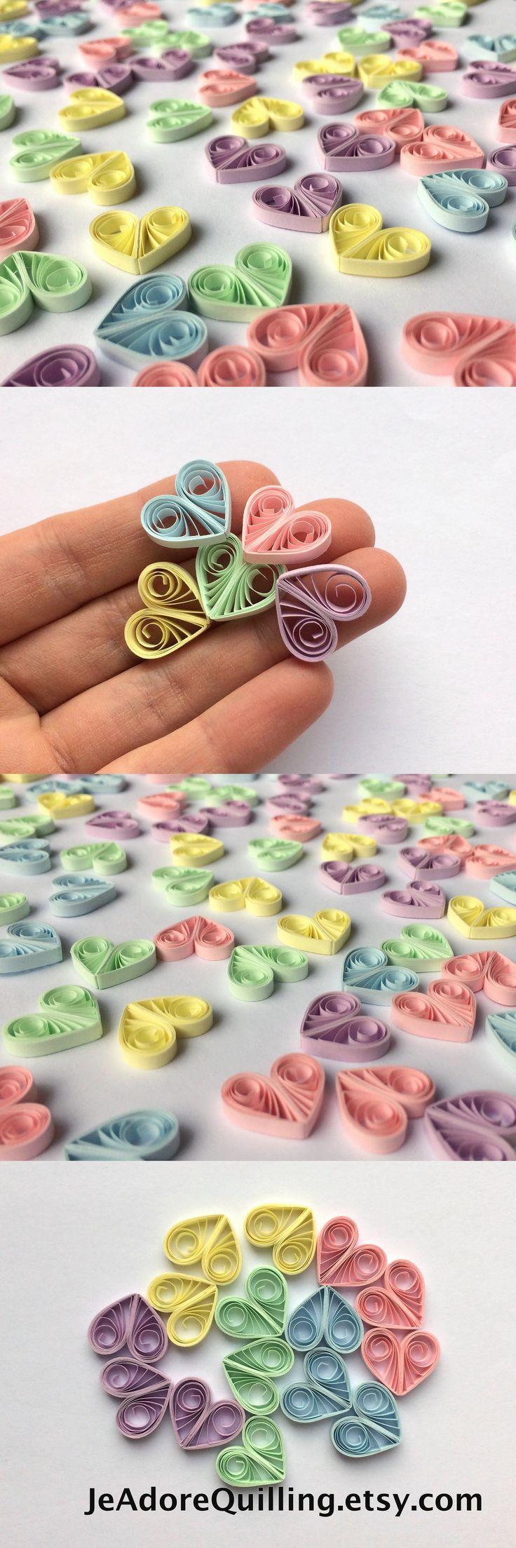 Quilled Hearts Paper Quilling Art Confetti Scatter Ornaments Gifts Fillers Easter Mothers Day Baby Bridal Shower Wedding Pastel