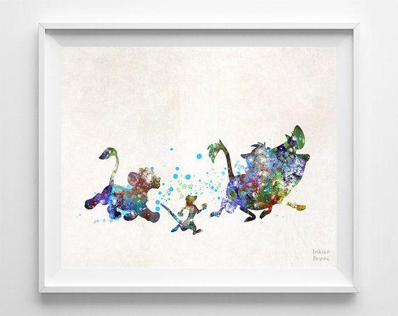 Hakuna Matata, Lion King, Print, Disney Poster, Timon, Pumbaa, Simba, Watercolor, Baby Shower, Illustration, Christmas, Wall, Nursery Room