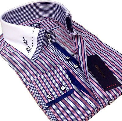 New Mens Smart Casual White Pink With Blue Striped Double Collar Slim Fit Shirt
