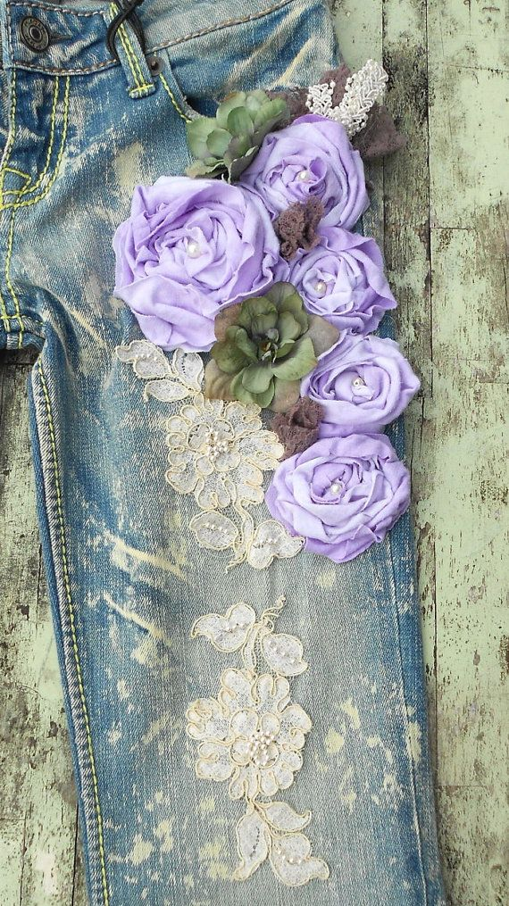 SALE Country Chic Boyfriend Jeans embellished by TrueRebelClothing