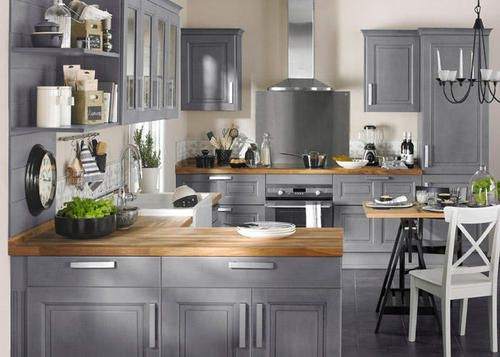 nice grey blue with wood countertops